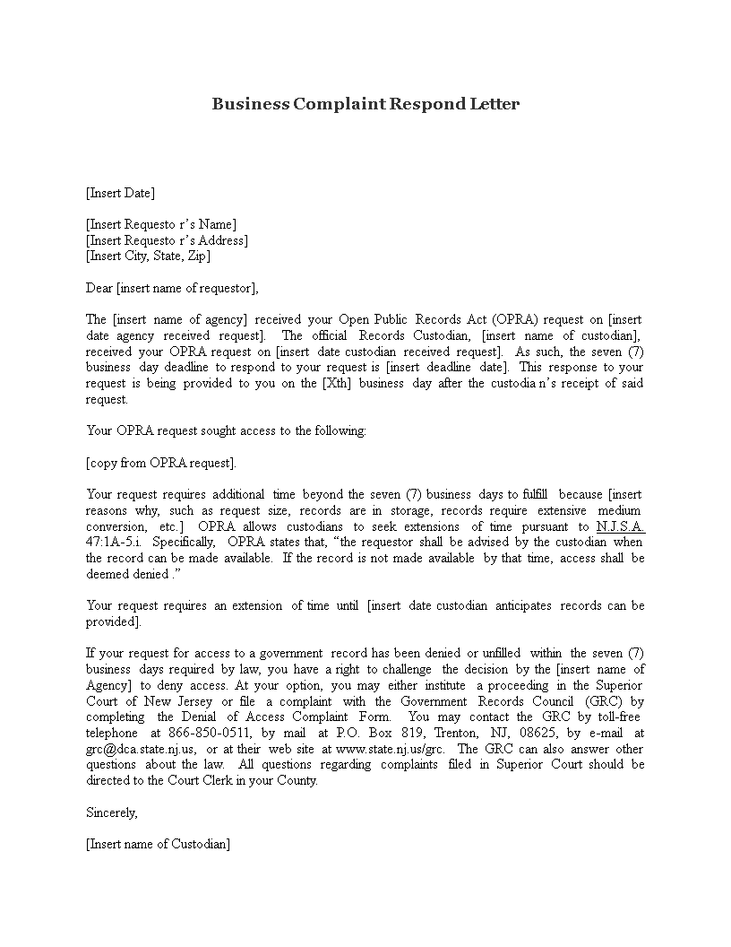 Free Business Complaint Respond Letter Templates At