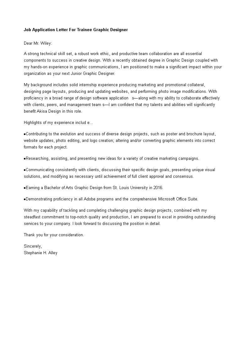 Free job application letter for trainee graphic designer templates job application letter for trainee graphic designer main image thecheapjerseys Choice Image