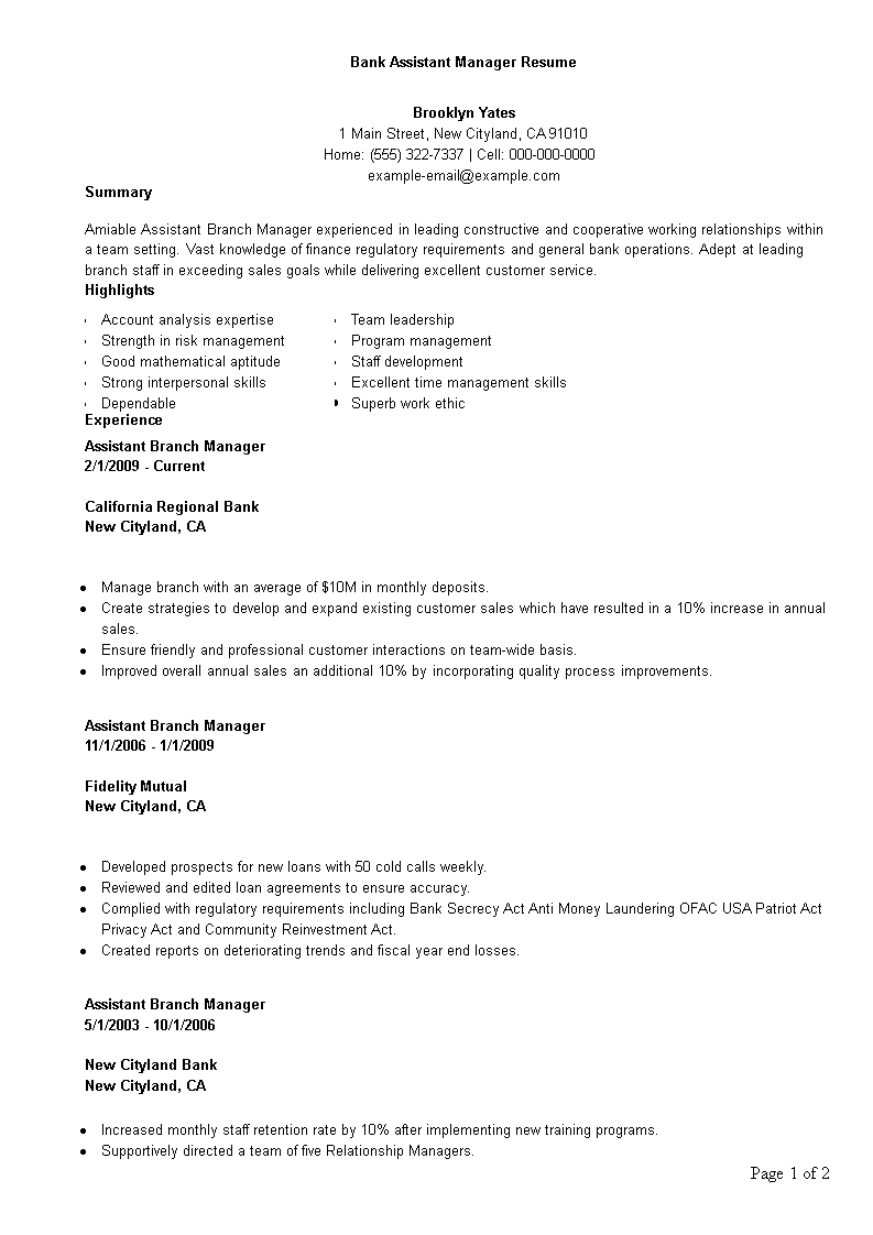 Branch Manager Resume | Free Bank Assistant Manager Resume Template Templates At