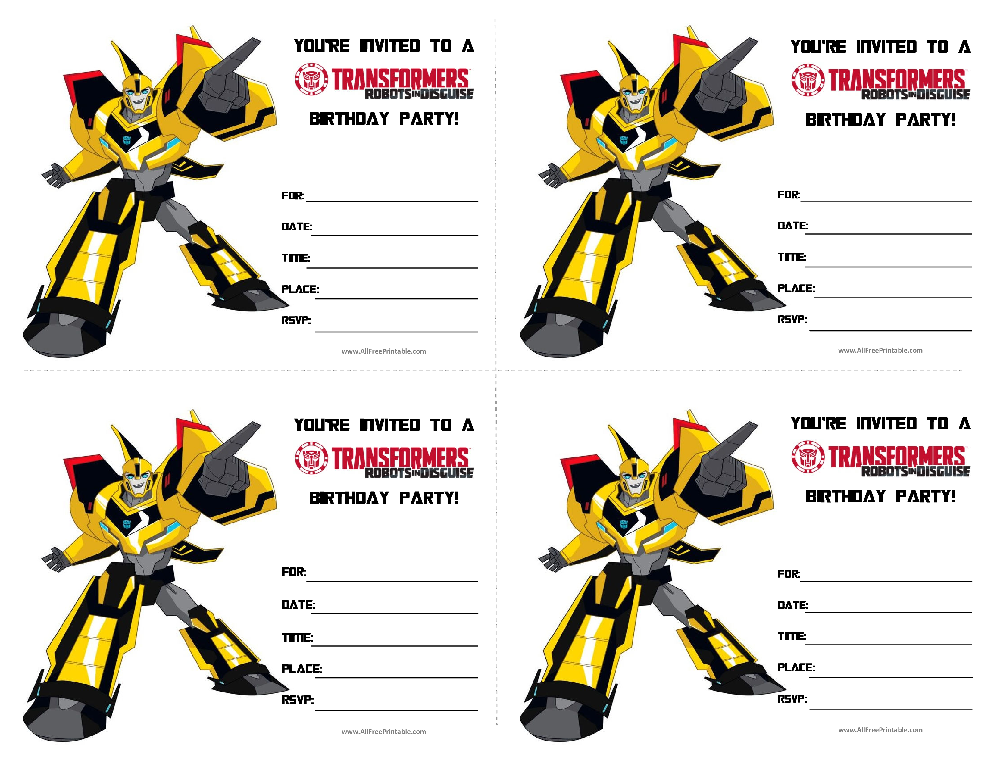 Free Transformers Birthday Invitations | Templates at ...