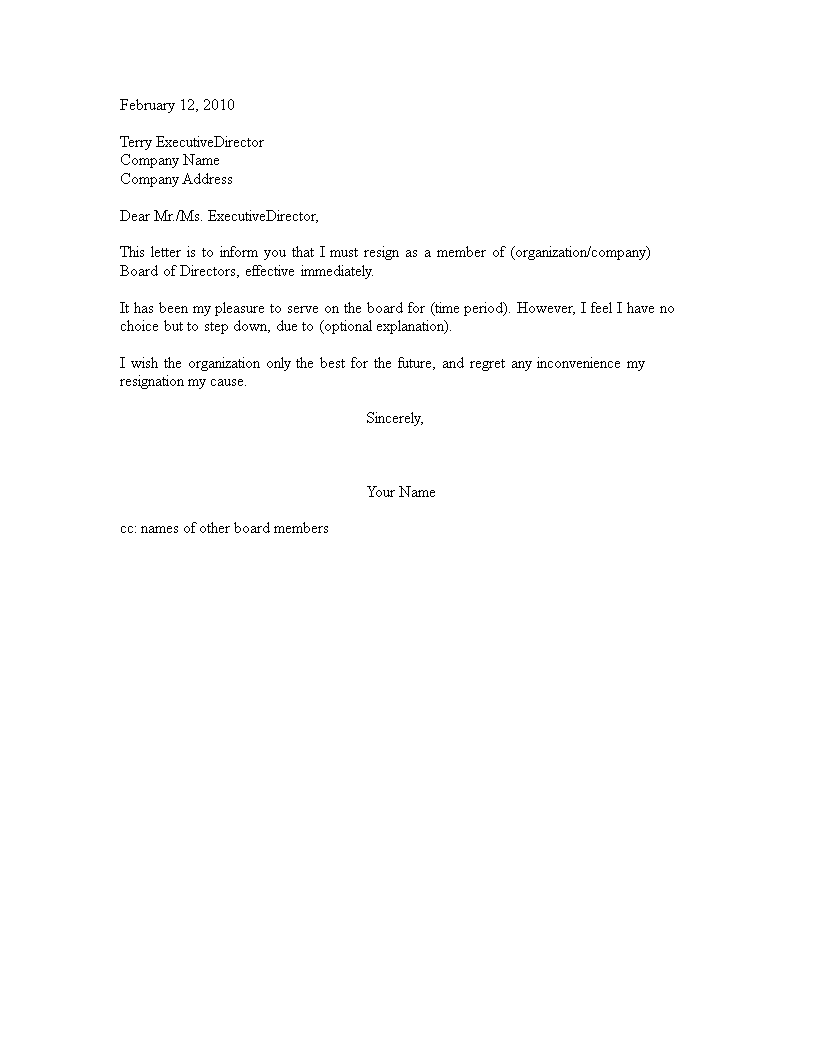 resignation letter from a volunteer board main image download template