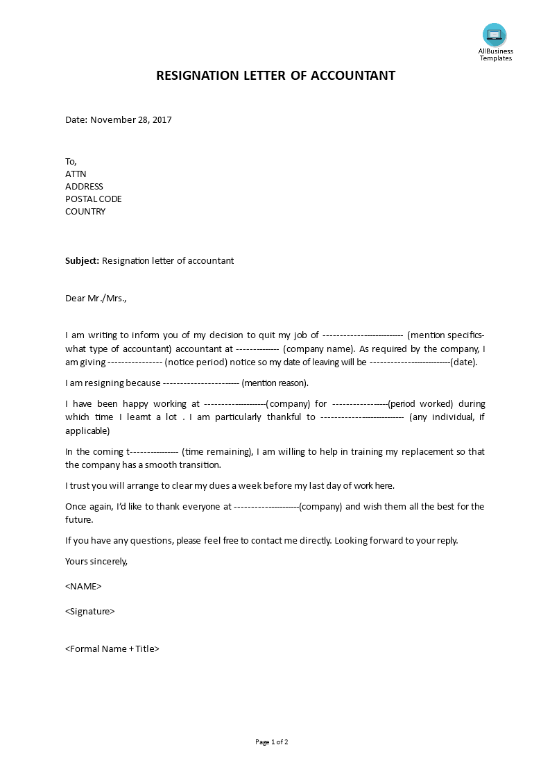 resignation letter format for accountant free resignation letter of accountant templates at 13301