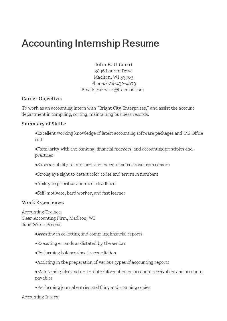 Internship Accounting Resume Sample