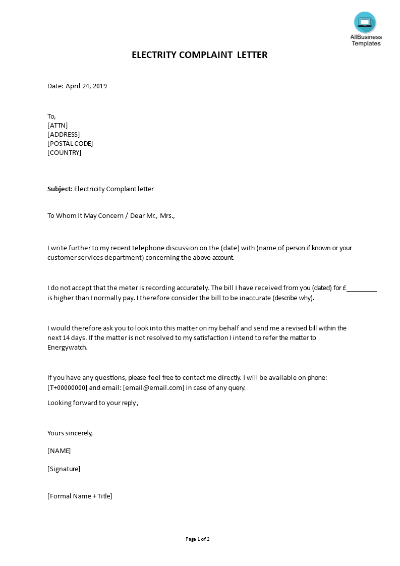 Electricity Complaint Letter Format | Templates at