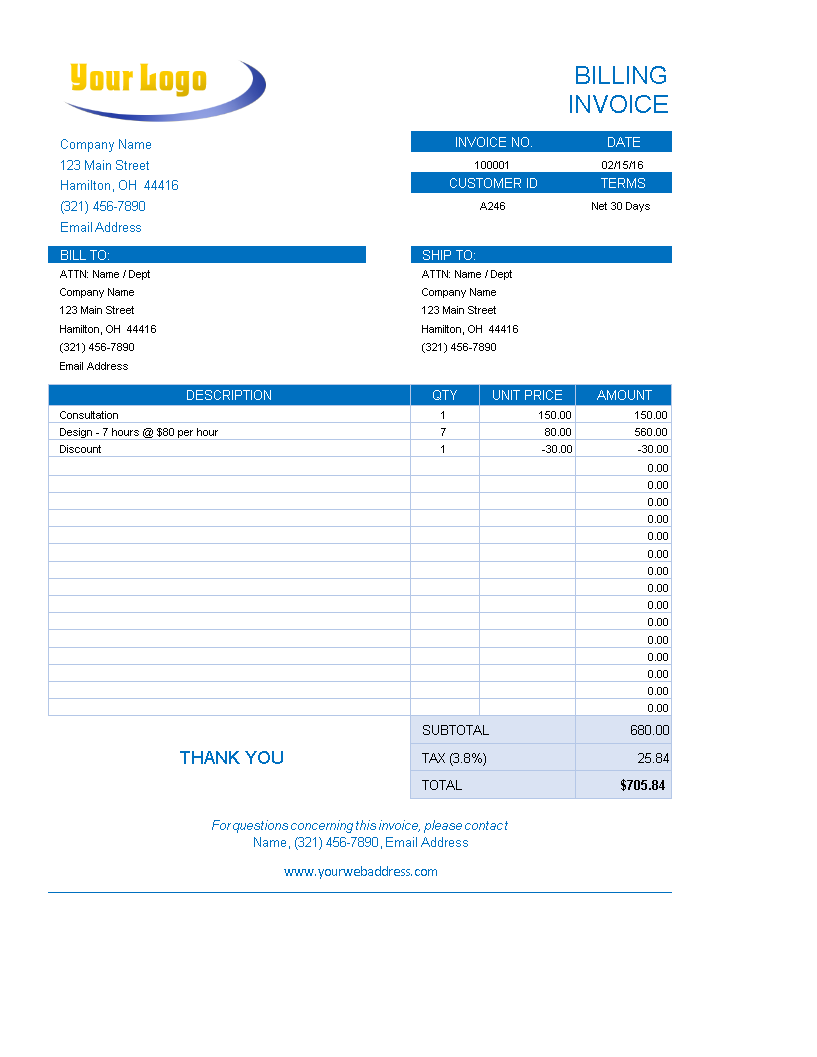 Free Excel Bakery Invoice Templates At Allbusinesstemplates