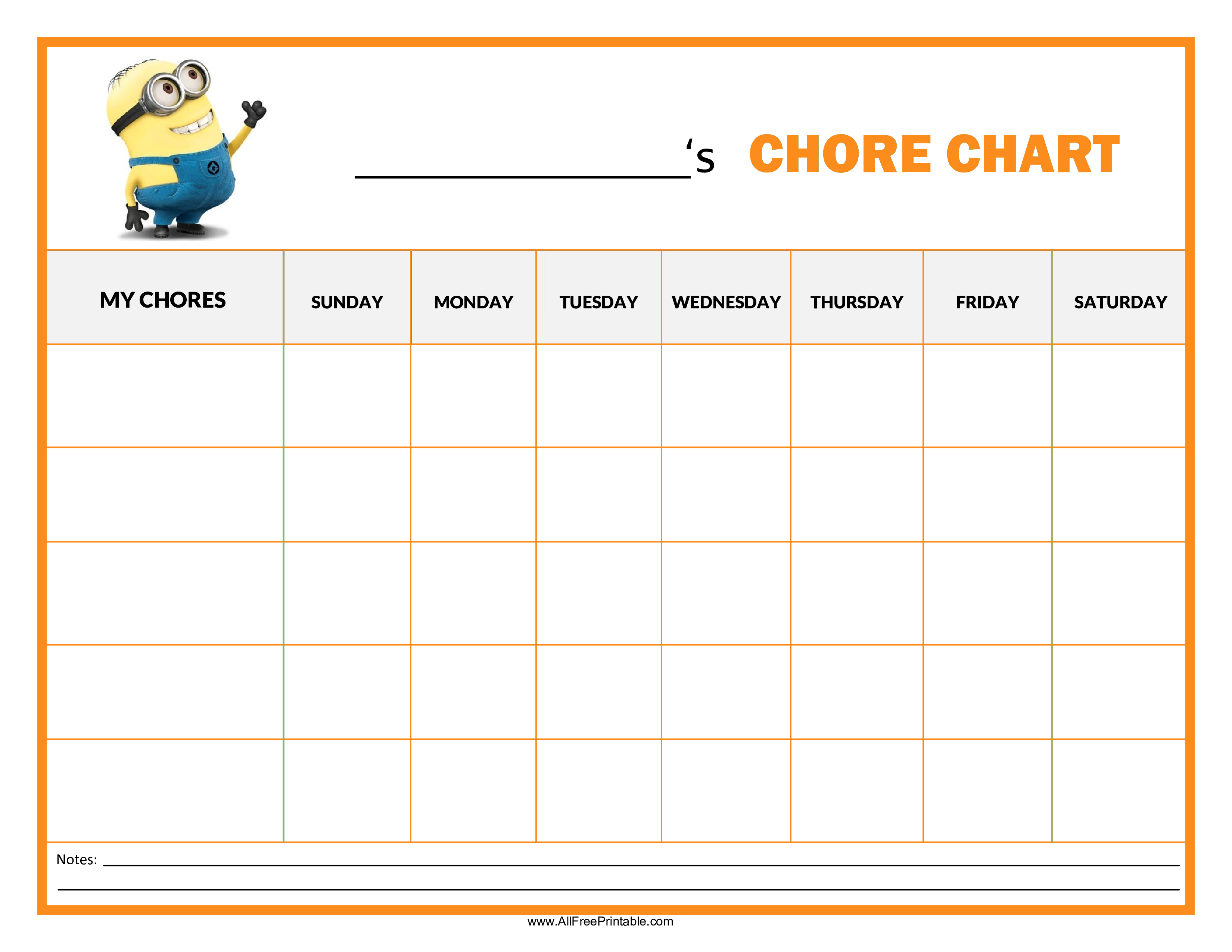 Classroom Routine Ideas ~ Free chore chart minion templates at