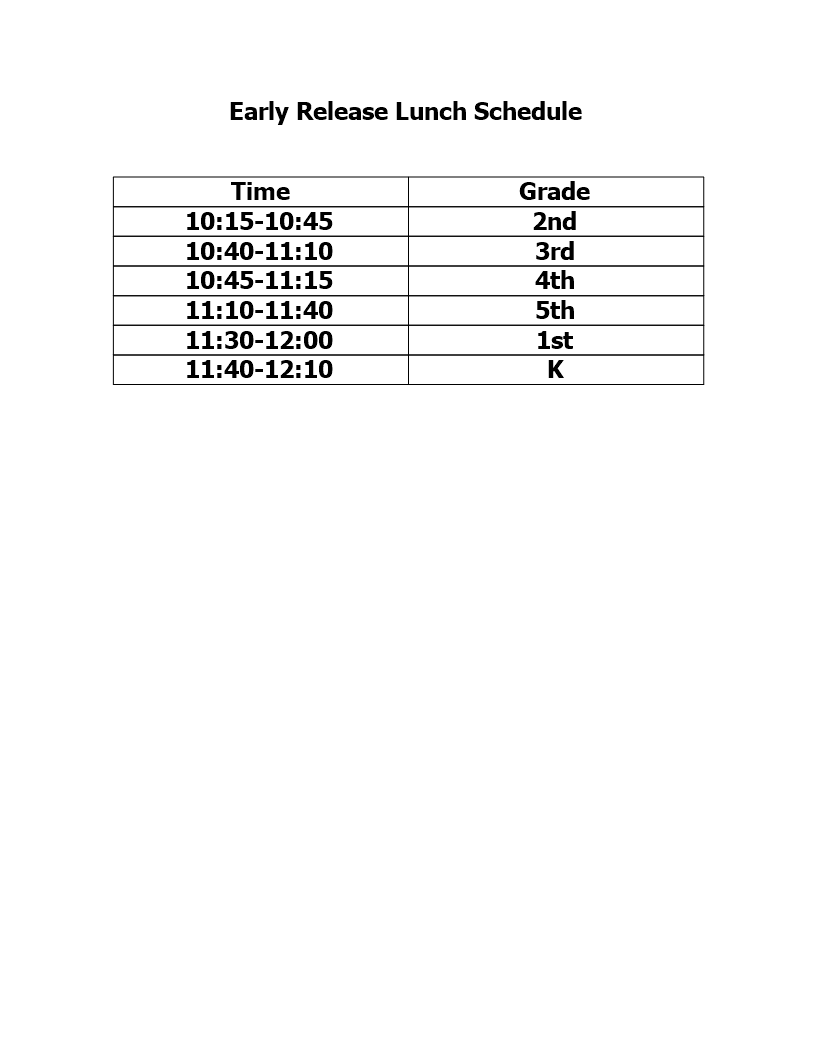 Early Release Lunch Schedule main image