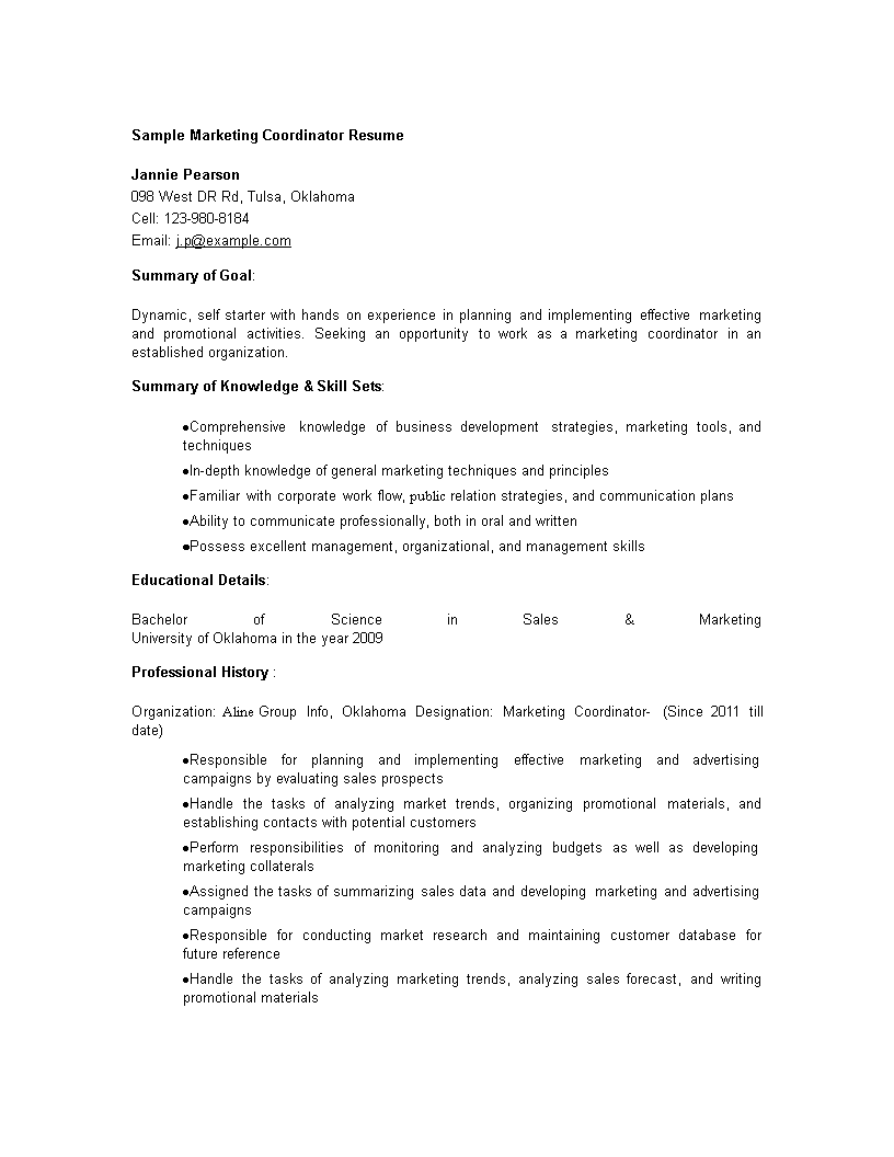 Free Sales Marketing Coordinator Resume Templates At