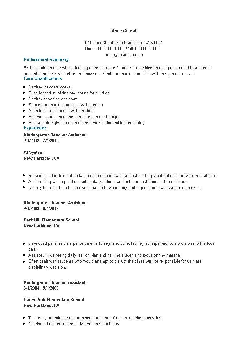 Free Assistant Kindergarten Teacher Resume | Templates at ...