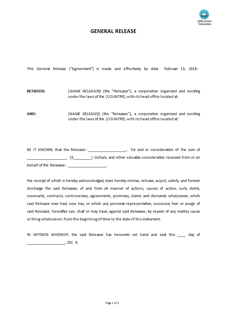 General Release Power Of Attorney Template Templates At