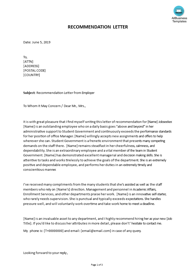 Printable Letter of Recommendation for Graduate School From Employer main image