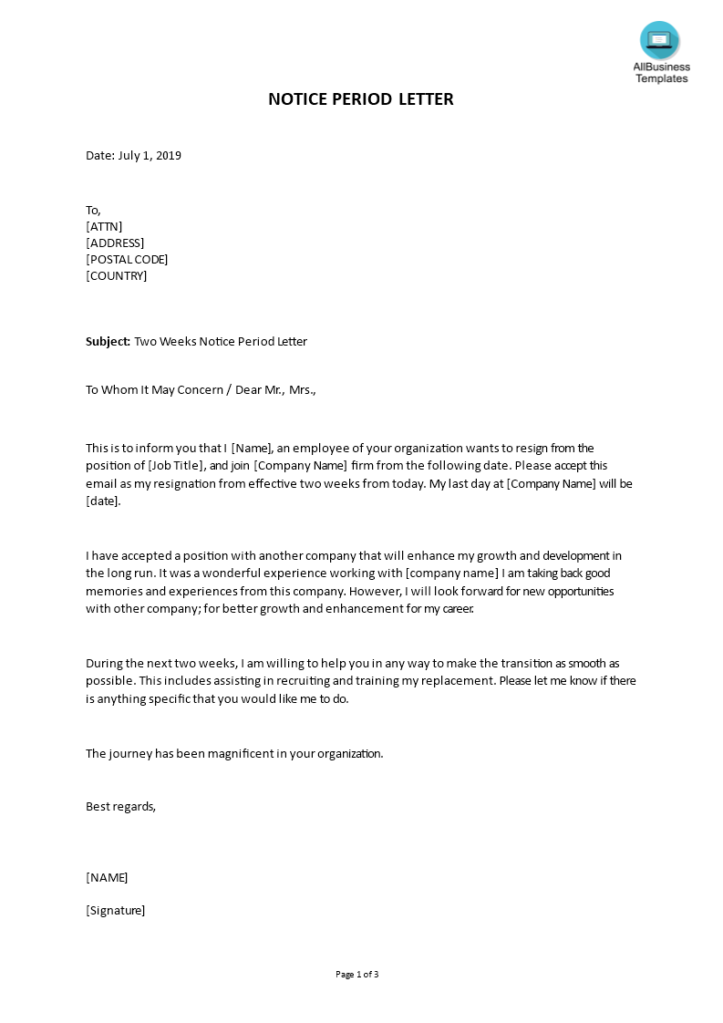 Two Weeks Notice Letter Template from www.allbusinesstemplates.com