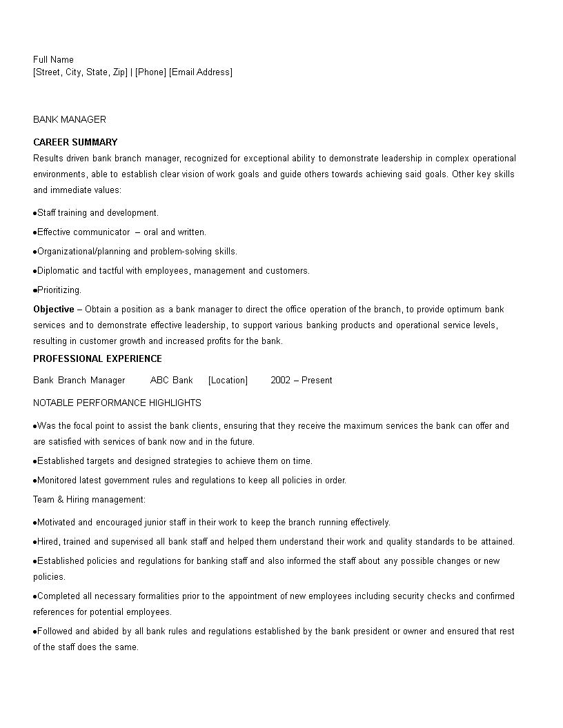 Free Banking Manager Resume Sample Templates At