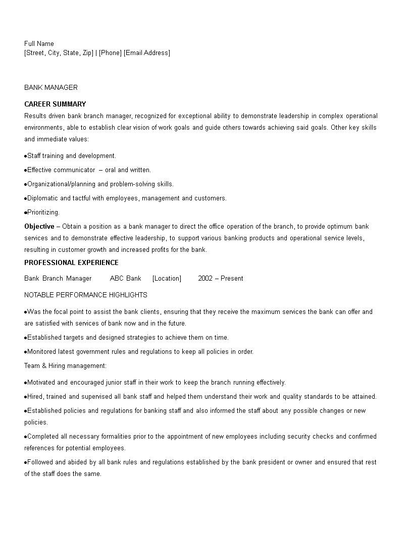 sample bank management resume
