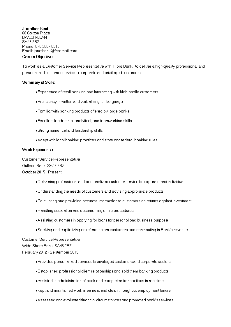 Customer Service Retail Banking Resume Template