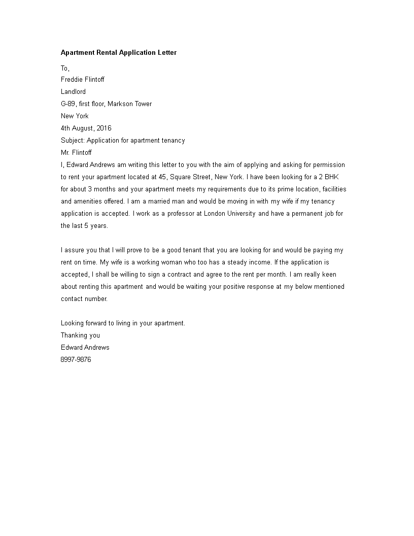 free apartment rental application letter templates at