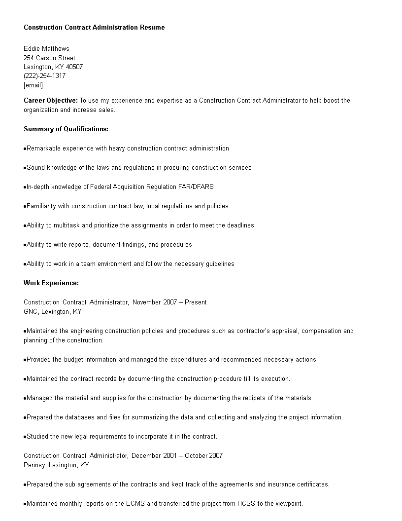 Construction Contract Administration Resume Main Image Download Template