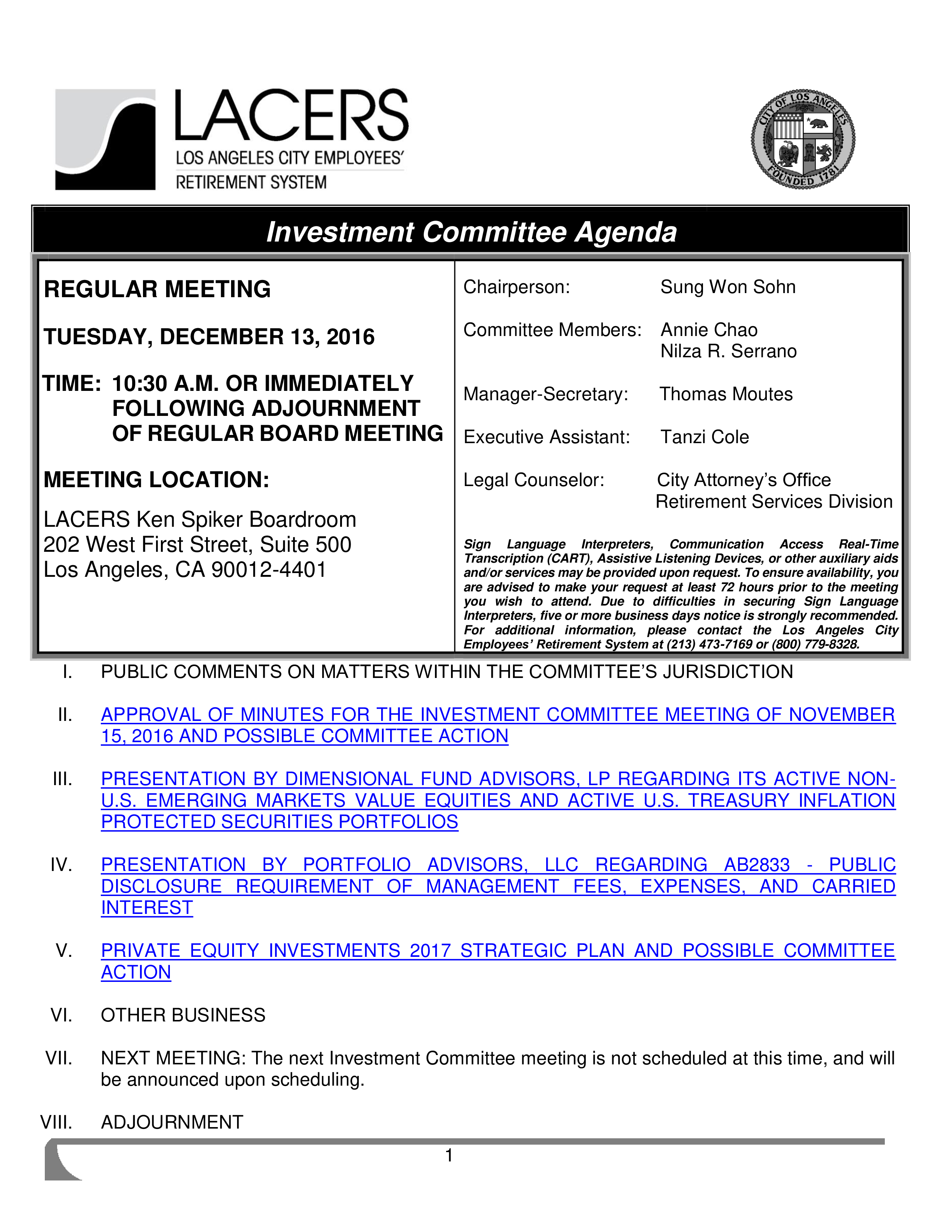 Investment Committee Agenda template main image