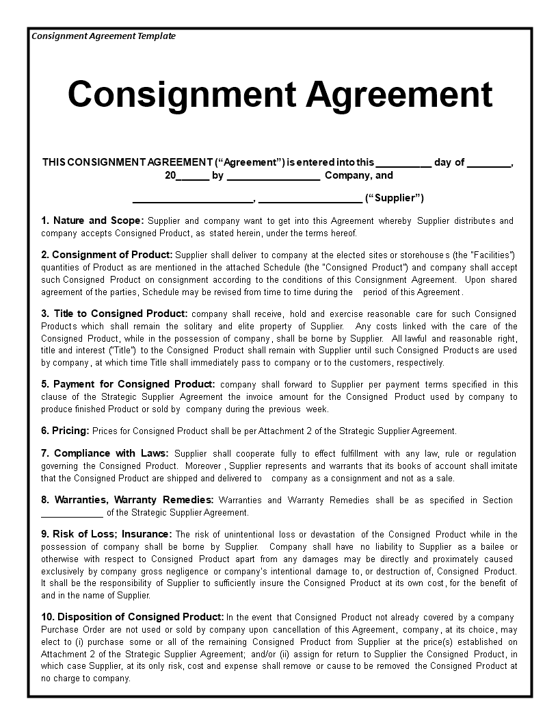 Free Consignment Agreement Templates At Allbusinesstemplates
