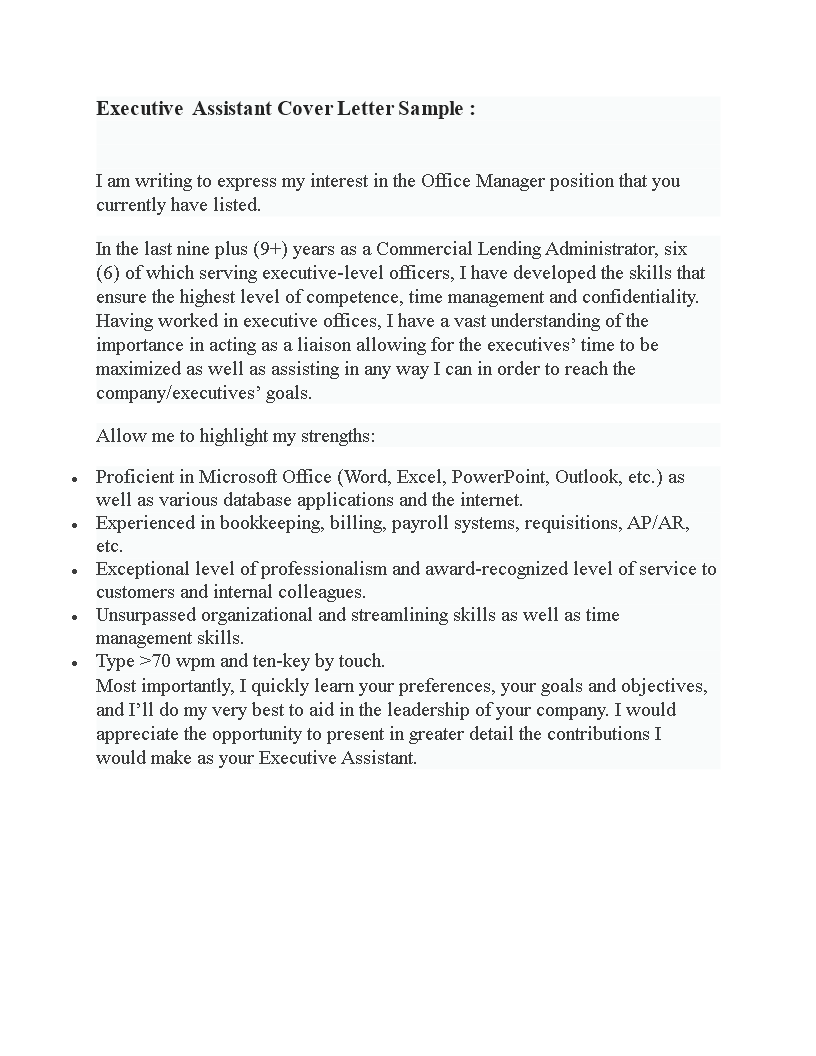 Executive Assistant Application Cover letter example ...