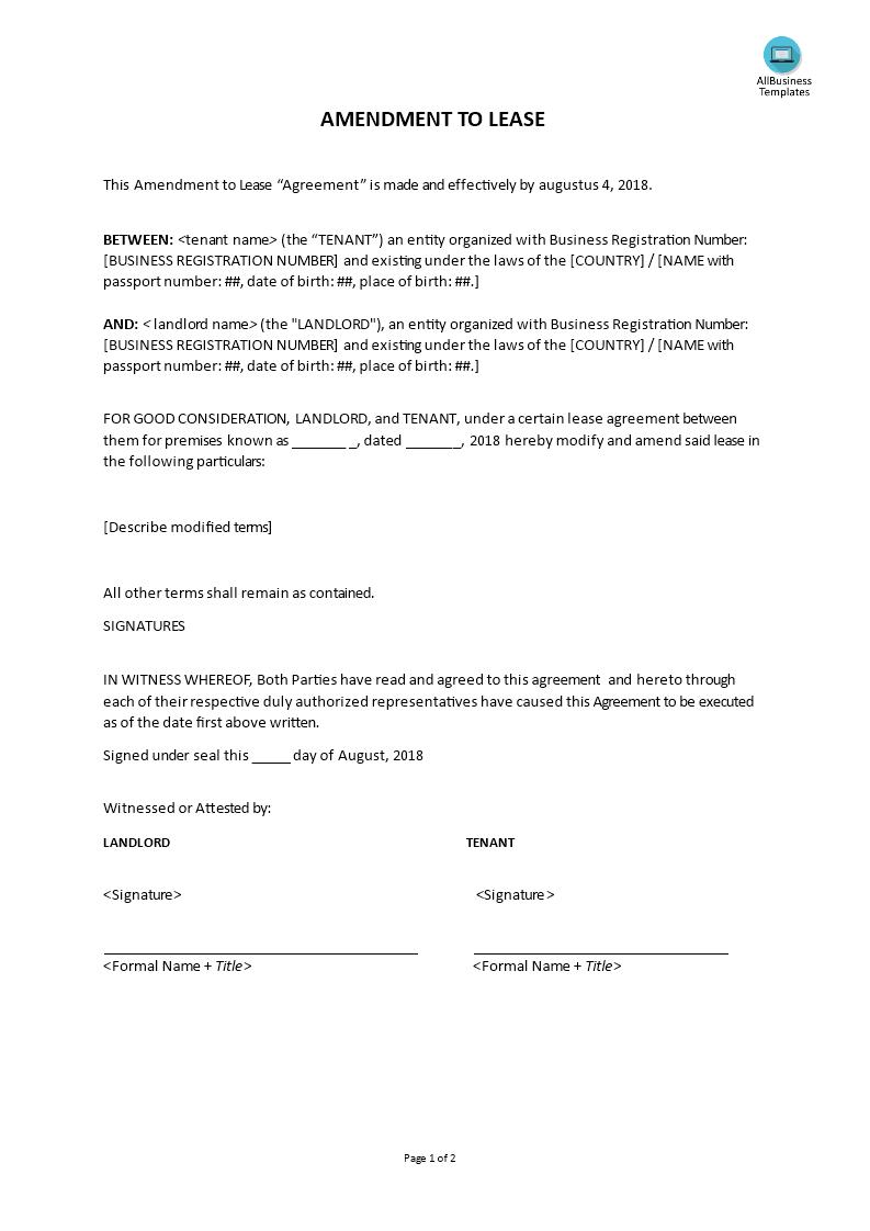amendment to lease templates at. Black Bedroom Furniture Sets. Home Design Ideas