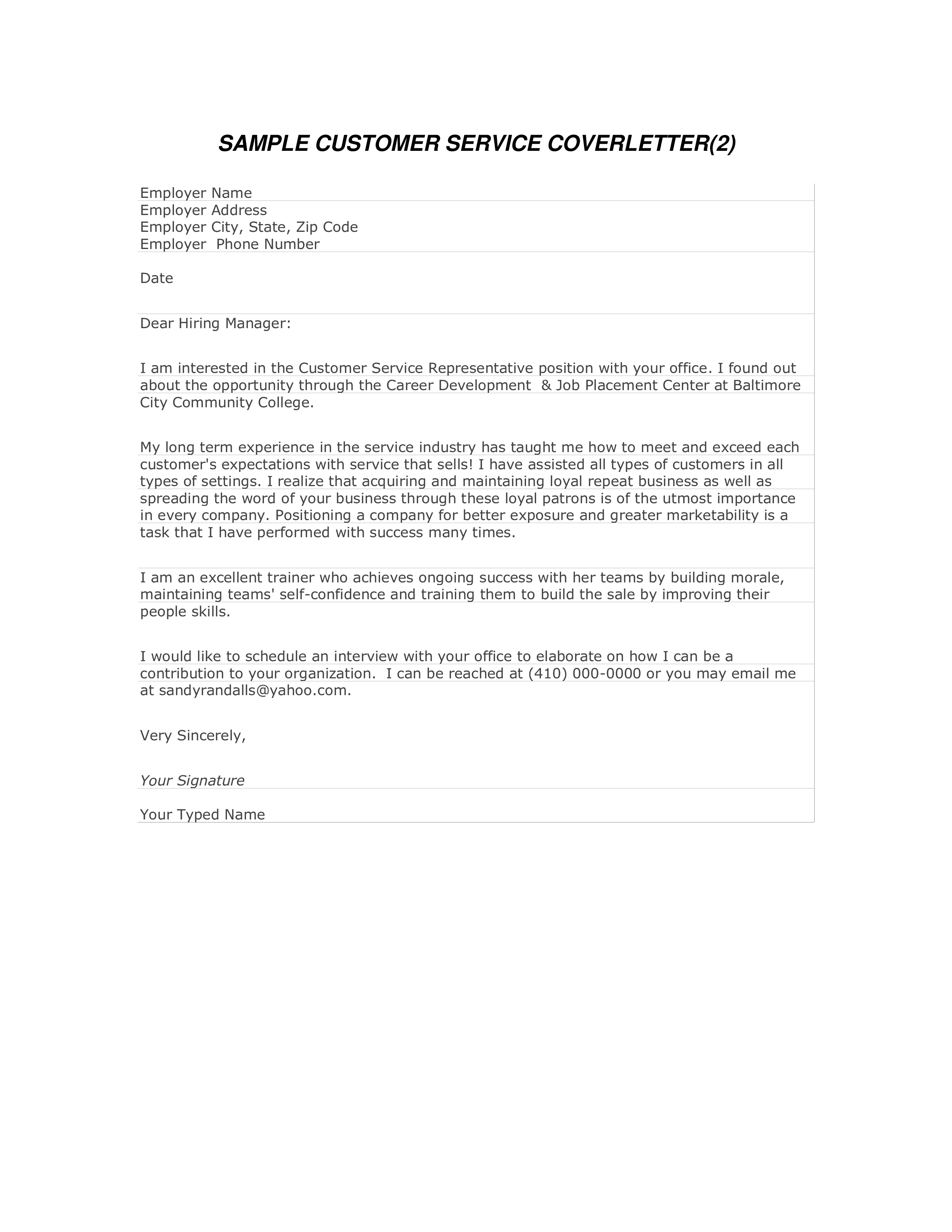 Customer Service Job Cover Letter | Templates at ...
