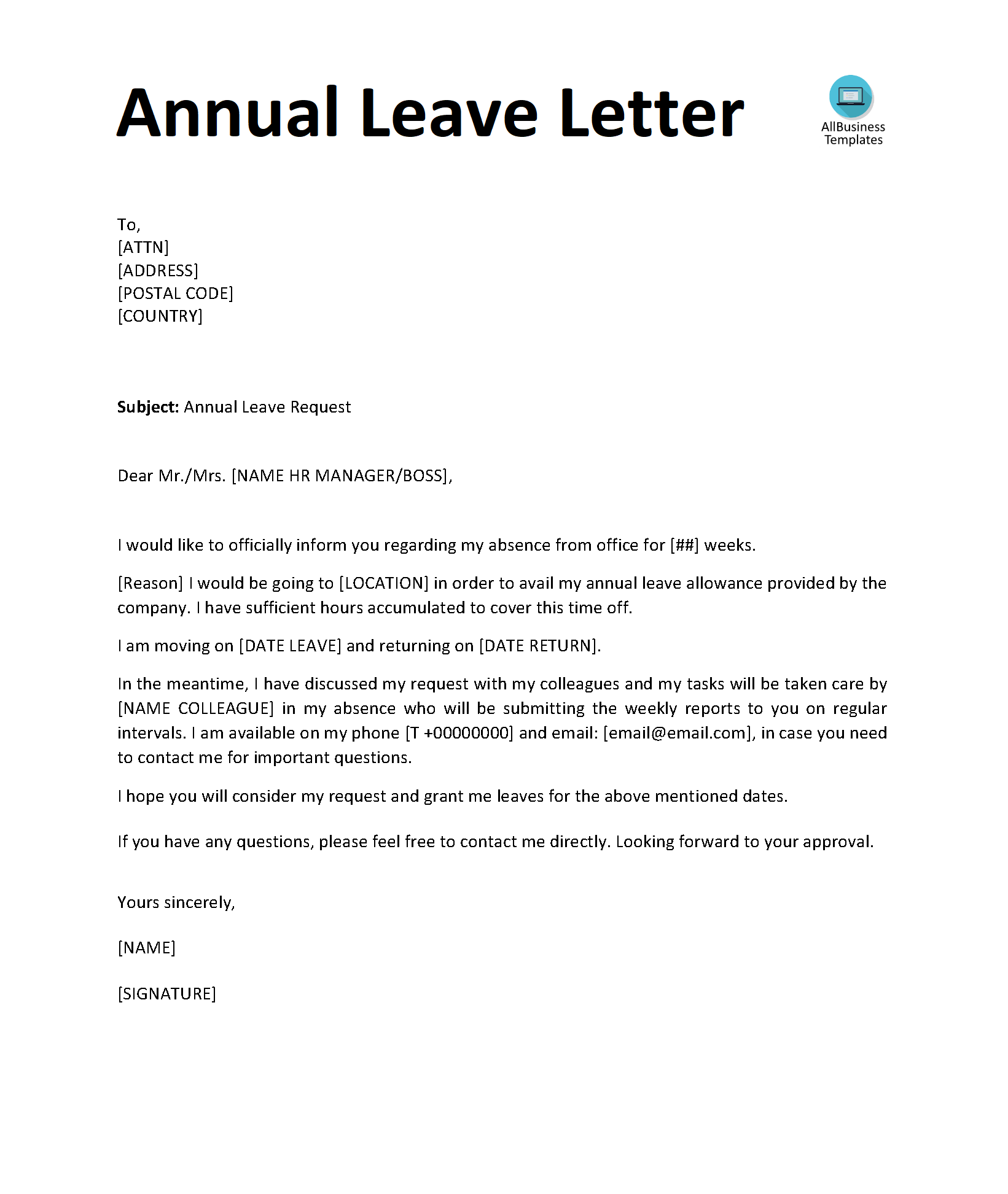 Permission Letter For Leave Of Absence from www.allbusinesstemplates.com