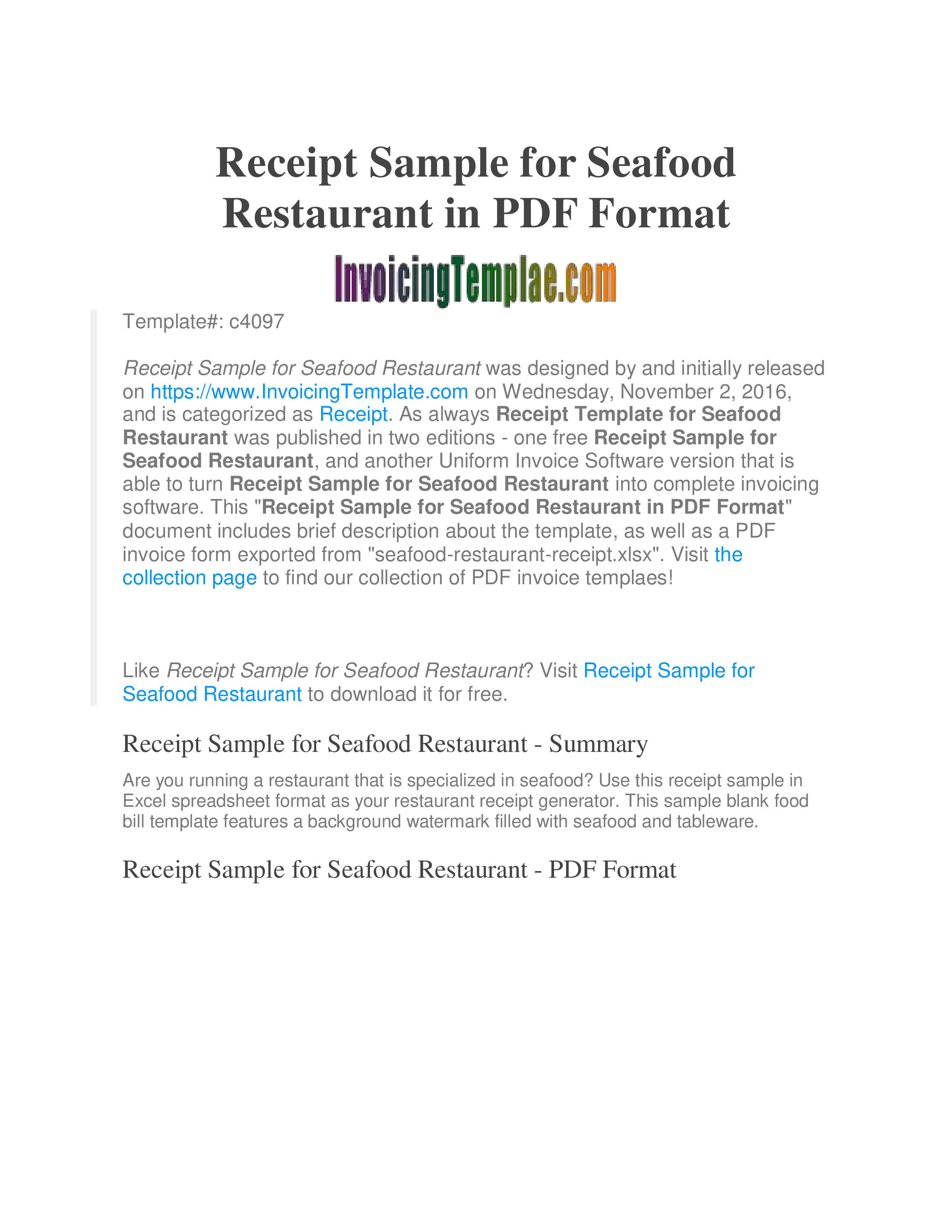 Free Sample Restaurant Receipt Templates At Allbusinesstemplates