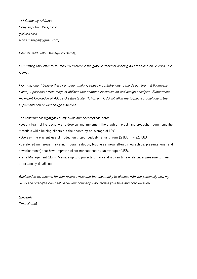 Free Graphic Design Cover Letter template | Templates at ...