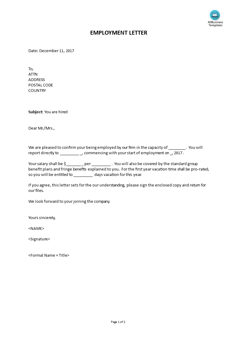 Employment letter templates at allbusinesstemplates employment letter main image thecheapjerseys Choice Image