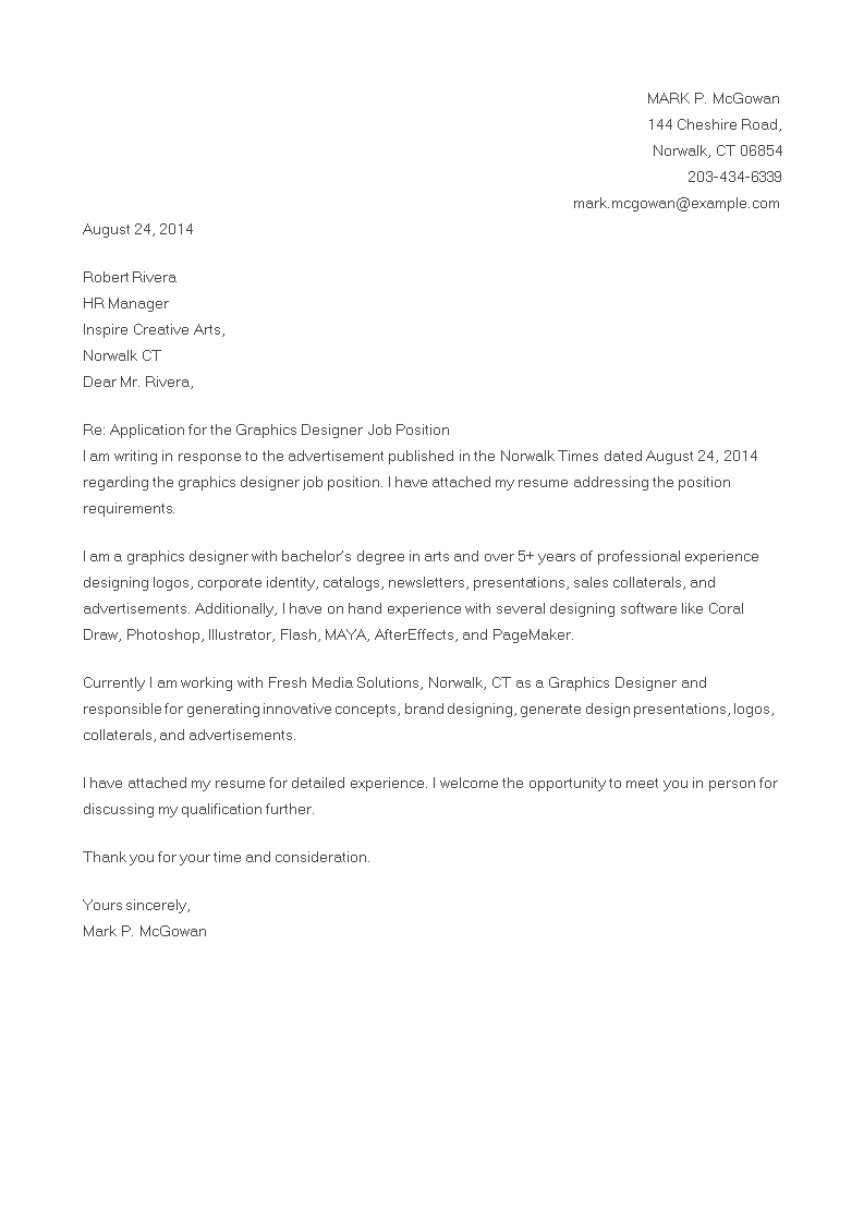Cover Letter For Graphic Designer Vacancy Topmost Display Most Excellent