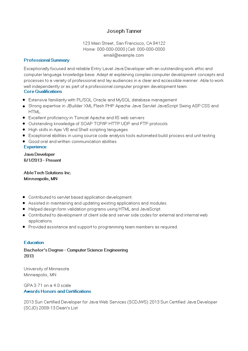 Java Developer Fresher Resume