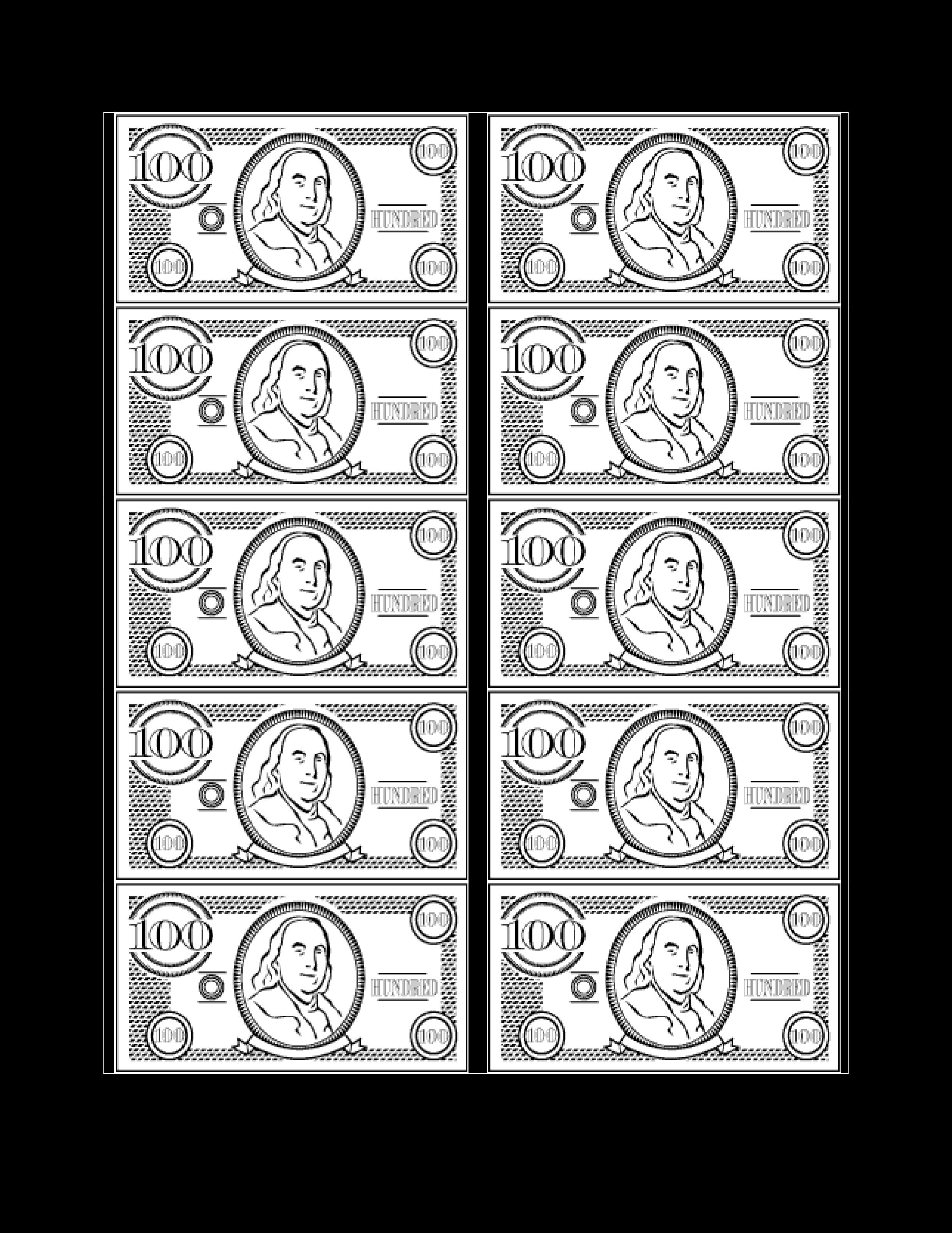 free 100 bill fake money templates at