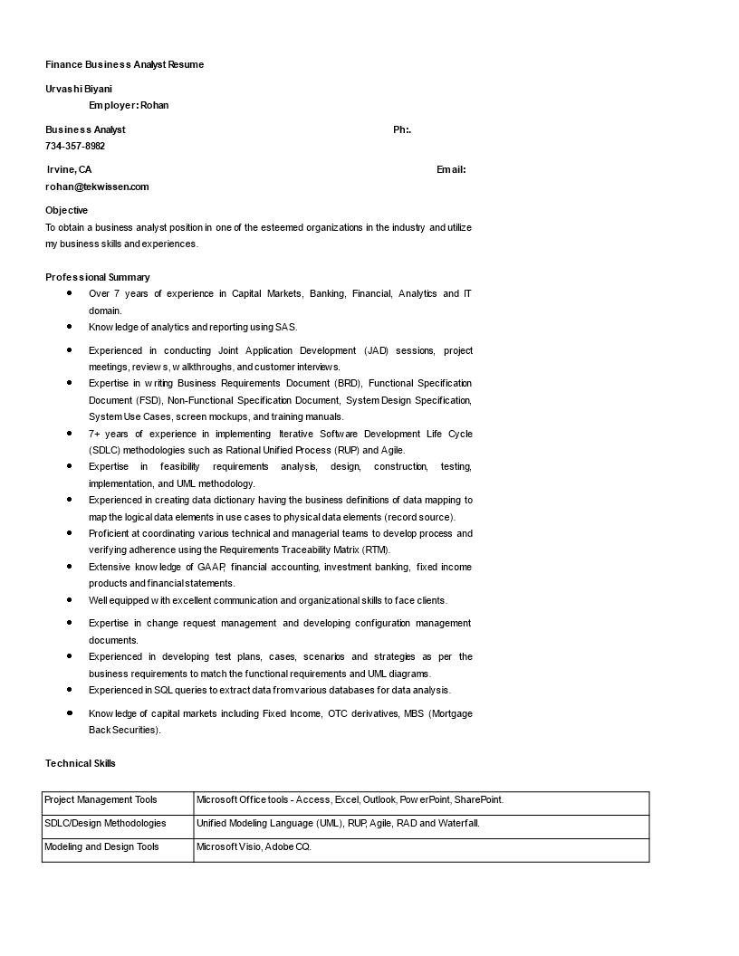 Finance Business Analyst Resume | Templates at allbusinesstemplates com