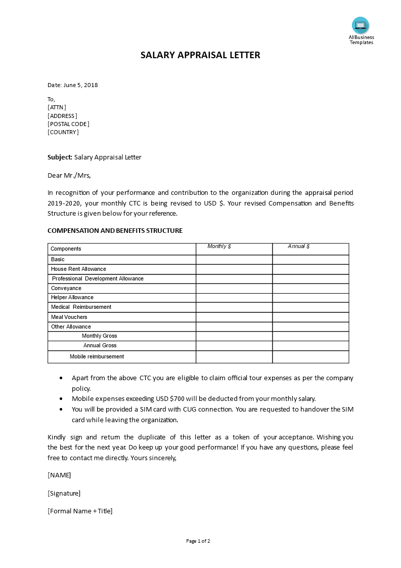 Salary Appraisal Letter Sample Templates At