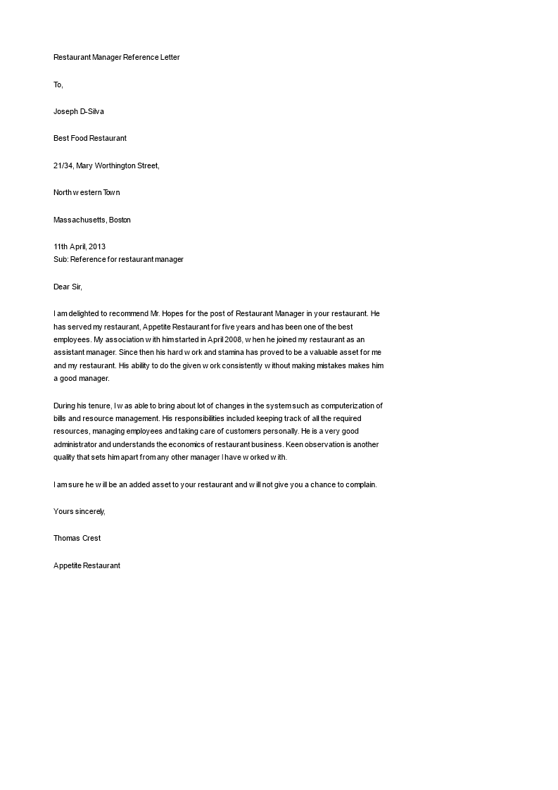 Free Restaurant Manager Reference Letter Templates At