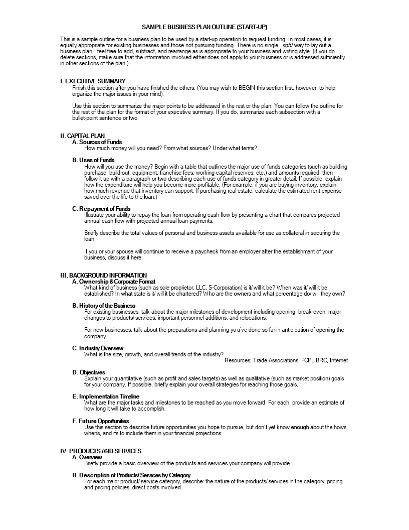 free business plan outline in word templates at