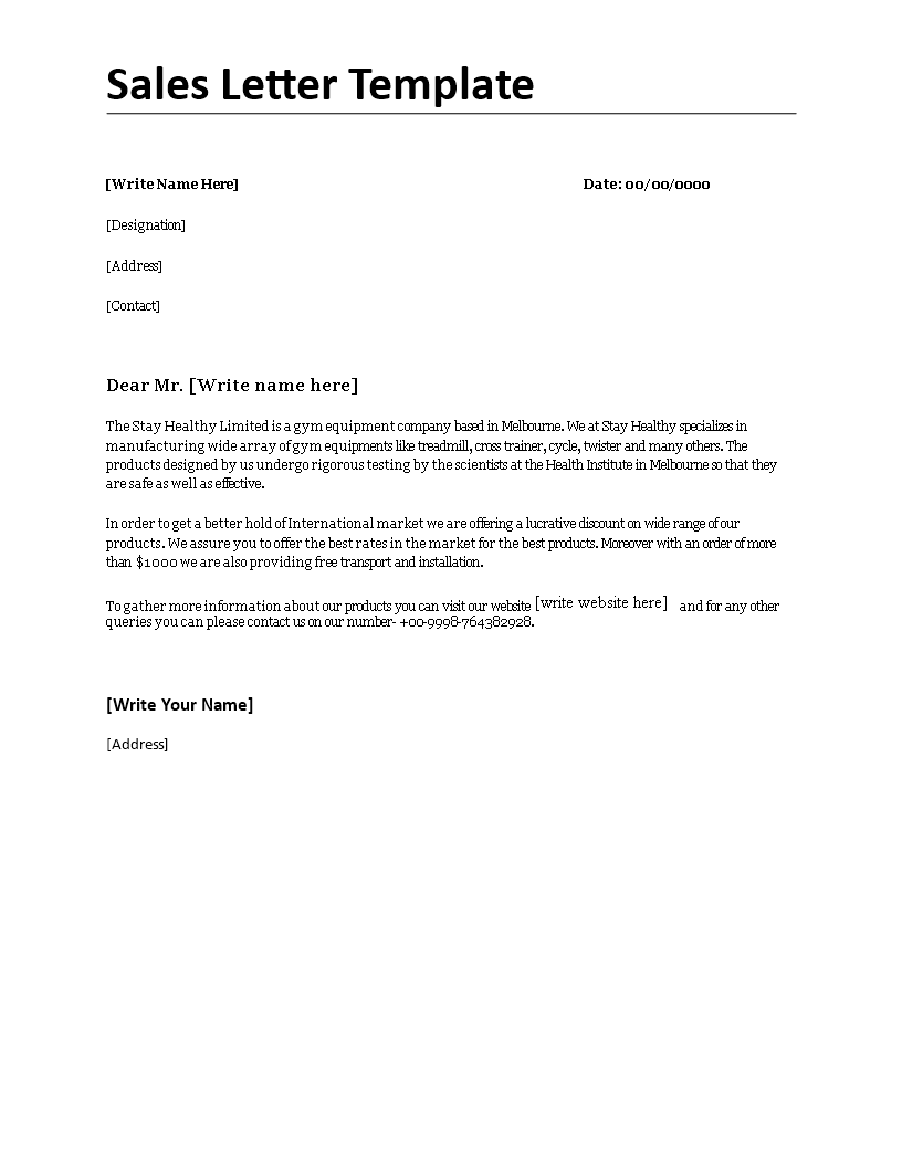 Free Sales Letter Template Templates At Allbusinesstemplates Com