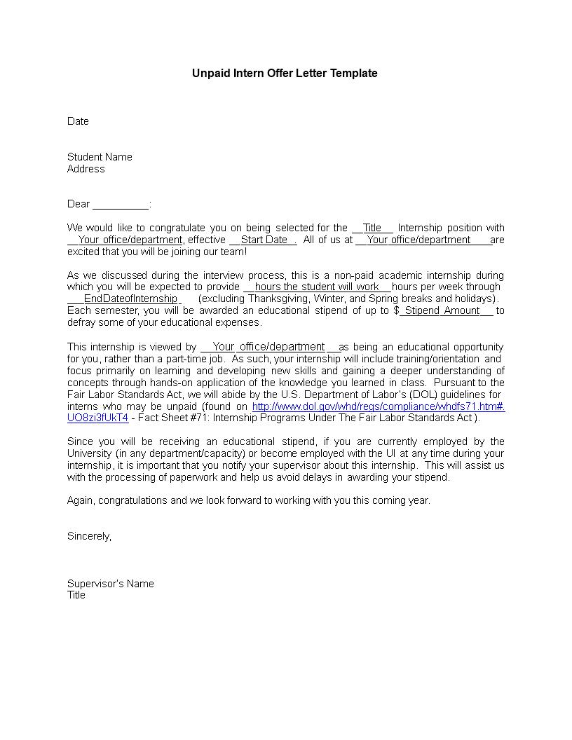 Unpaid Internship  AllbusinesstemplatesCom