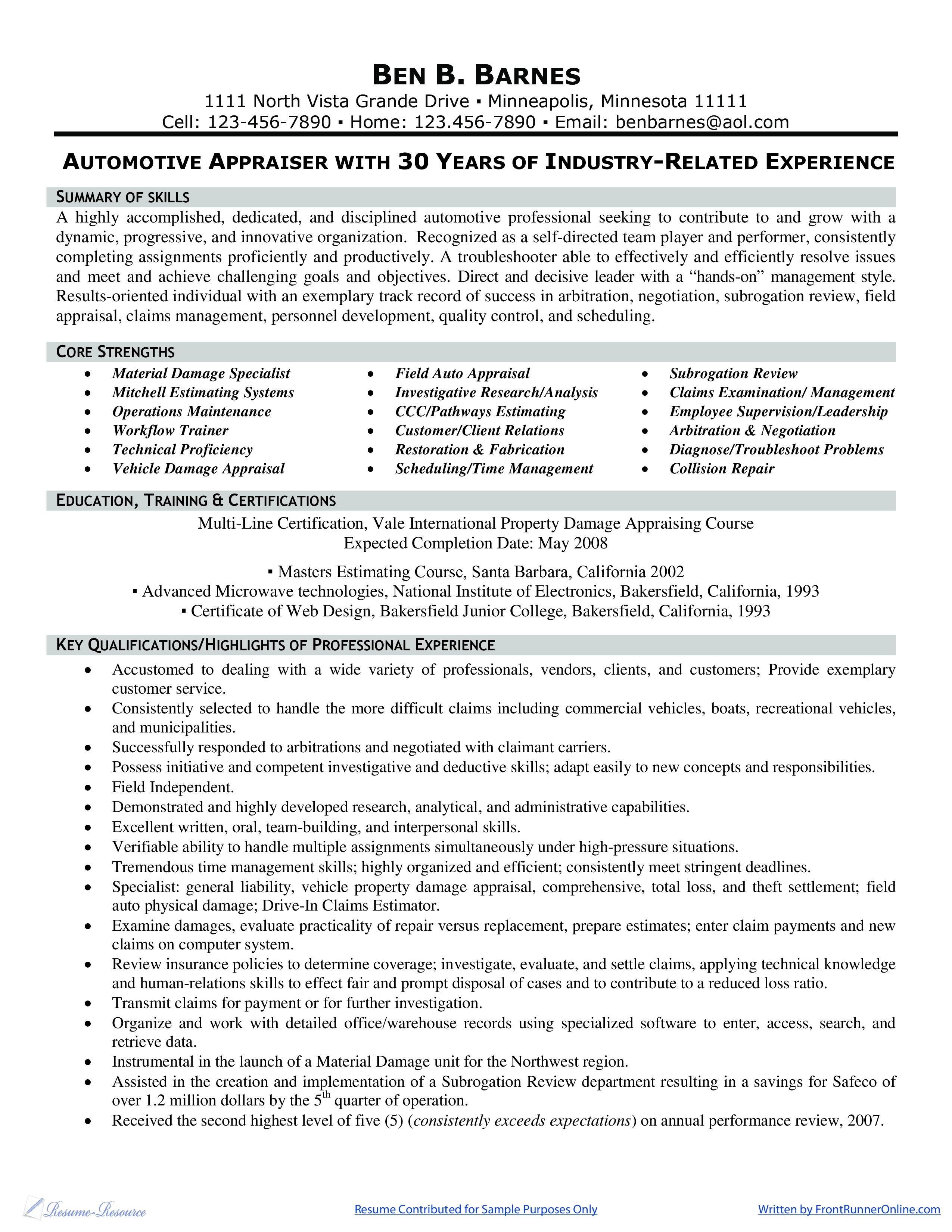 Free Automotive Appraiser Adjuster Resume Templates At
