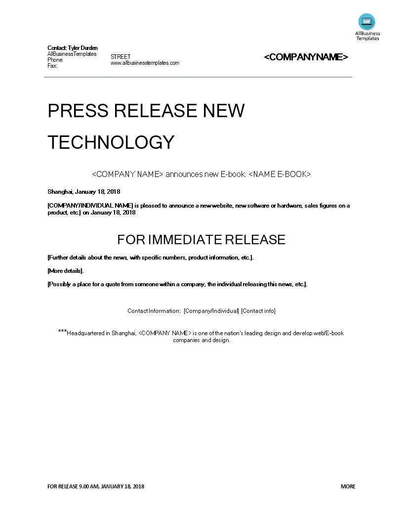 Press Release Technological development main image