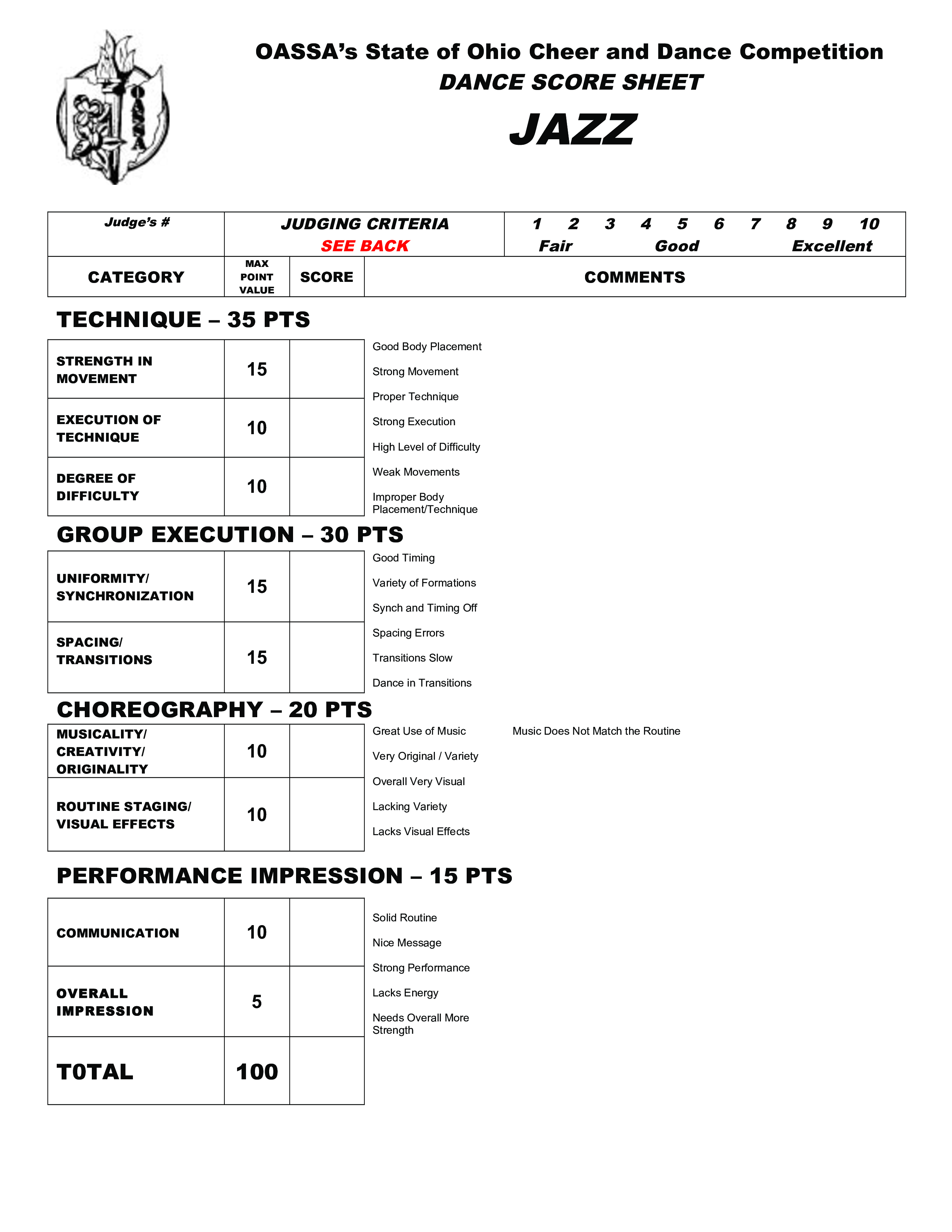 Dance Score Sheet Main Image Download Template