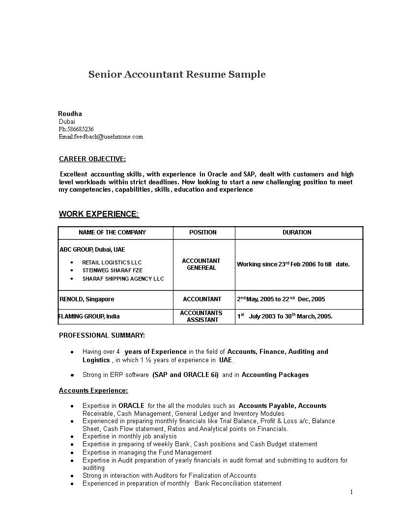 Senior Accountant Resume Sample Templates At Allbusinesstemplates Com