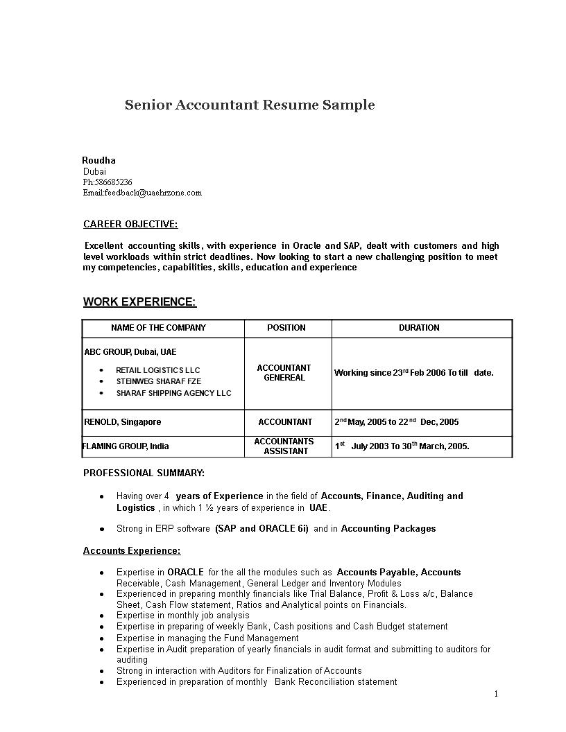 Senior Accountant Resume Sample Templates At Allbusinesstemplates Com
