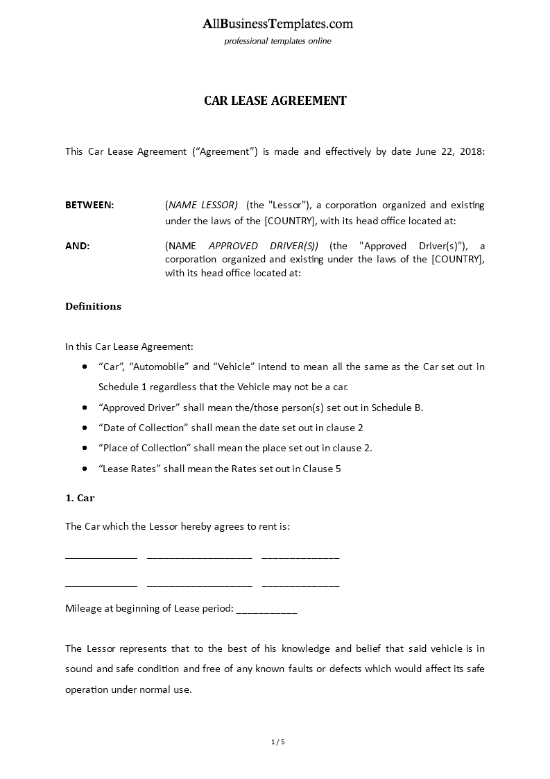 Car Lease Agreement With Car Owner Templates At