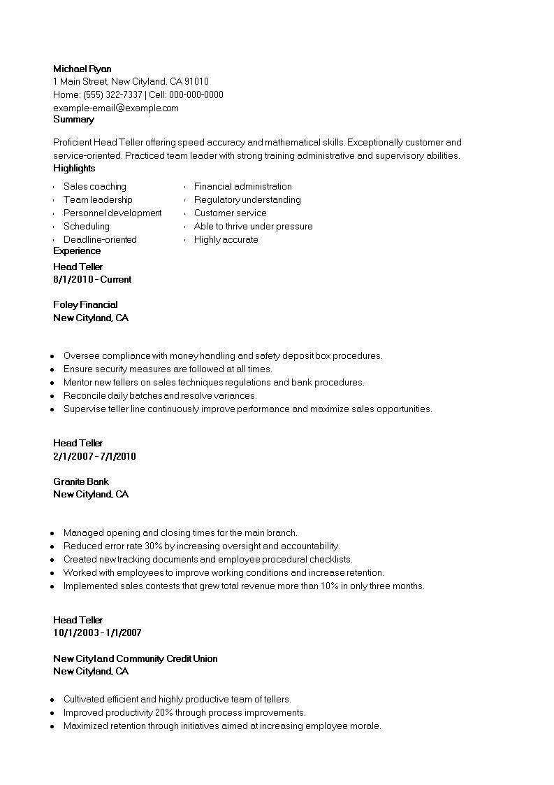 Banking Head Teller Resume