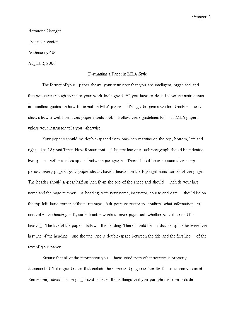 Free Mla Research Paper Word Templates At Allbusinesstemplates