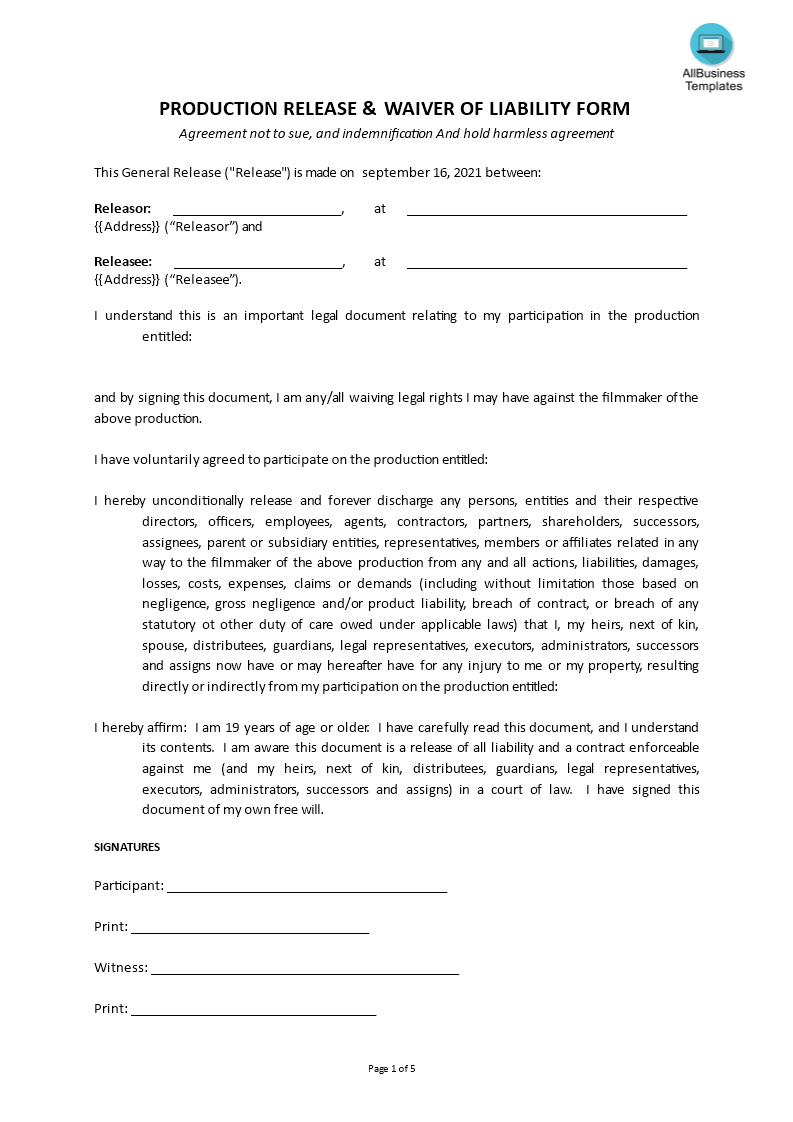 Free release of liability waiver form templates at for Release from liability form template