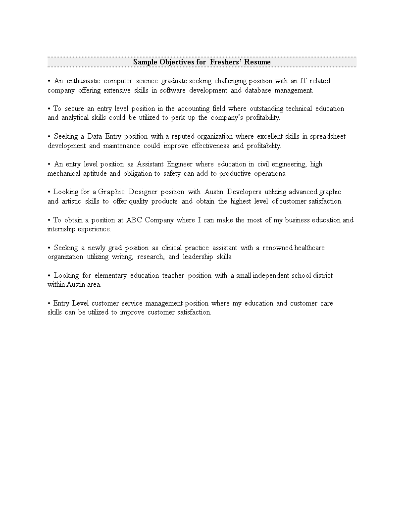 Fresher Resume Career Objective Templates At