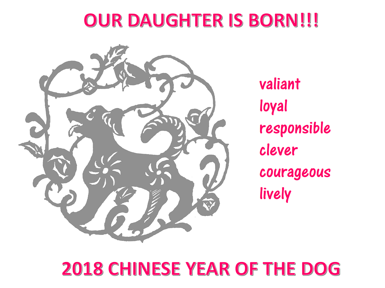 Chinese New Year Daughter Born Year of Dog main image
